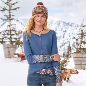 Sundance Caitlin Embroidered Sleeve Henley Top